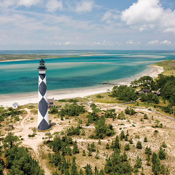 Cape Lookout Lighthouse on the Crystal Coast of North Carolina