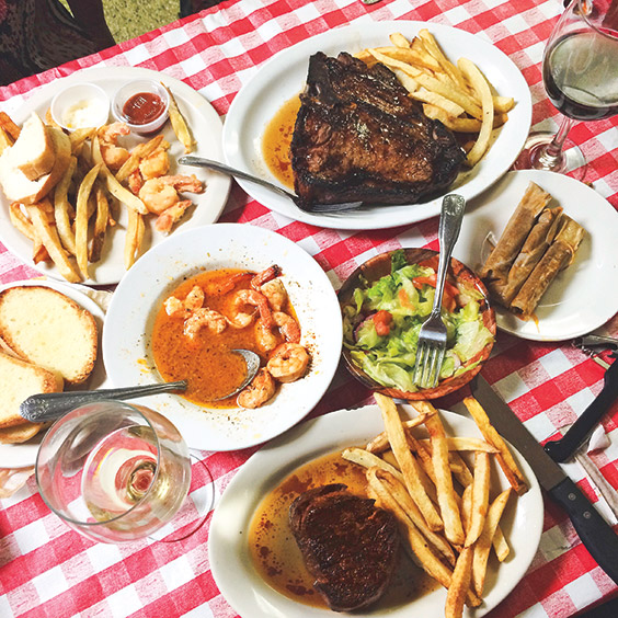 steaks at Doe's Eat Place in Greenville, Mississippi