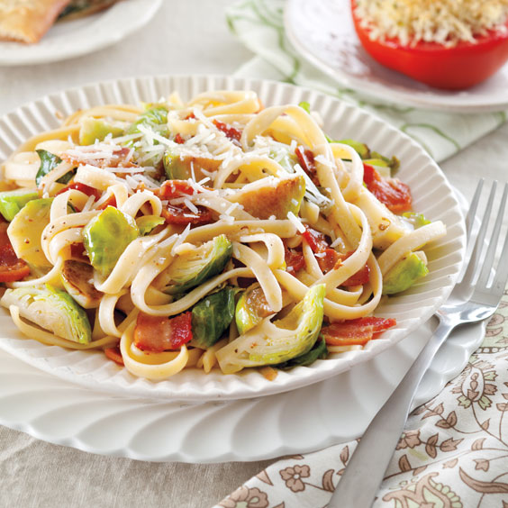 Bacon and Brussels Sprouts Pasta