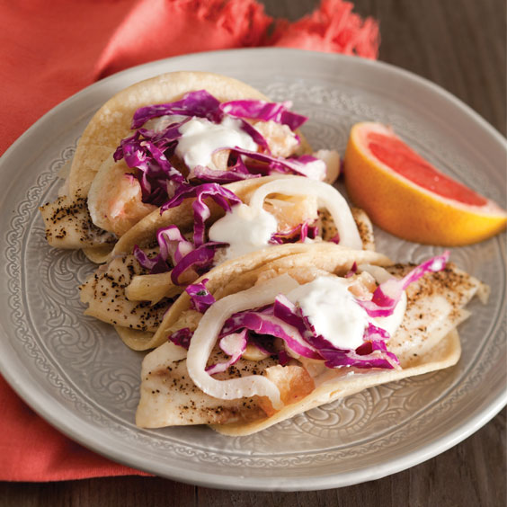 Fish tacos with grapefruit slaw paula deen magazine for Fish tacos with coleslaw