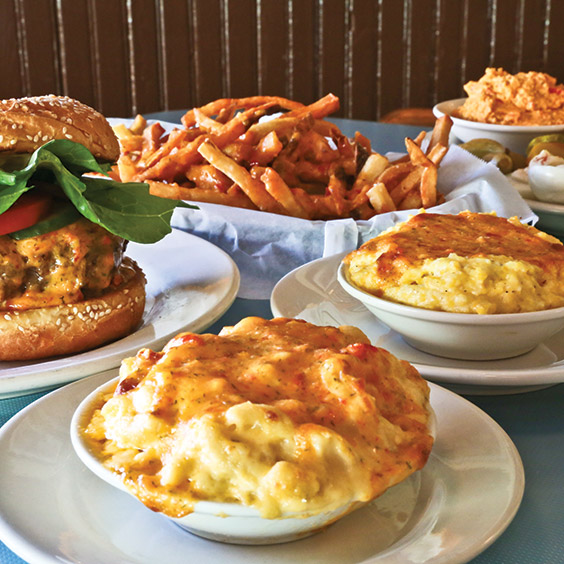 pimiento cheese-topped foods from High Hat Cafe in New Orleans, Louisiana