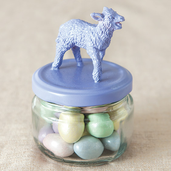 Easter candy jars made from toy animal and spray-painted empty jelly jar