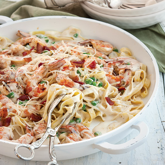 Shrimp, Bacon, and Pea Fettuccine