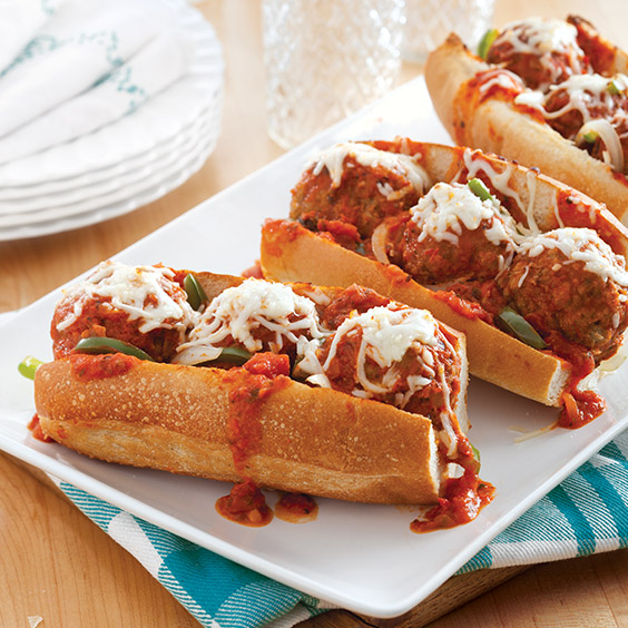 make-ahead meals cheesy-homemade-meatball-subs