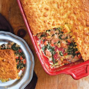 Ham, Greens, and Cornbread Pie