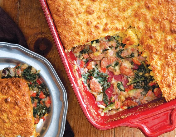 Ham, Greens, and Cornbread Pie