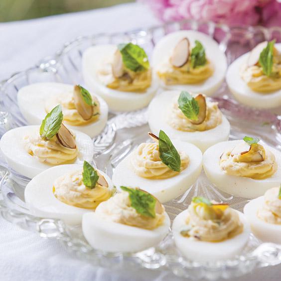 almond basil deviled eggs