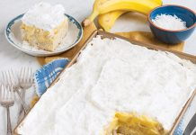 coconut banana pudding poke cake