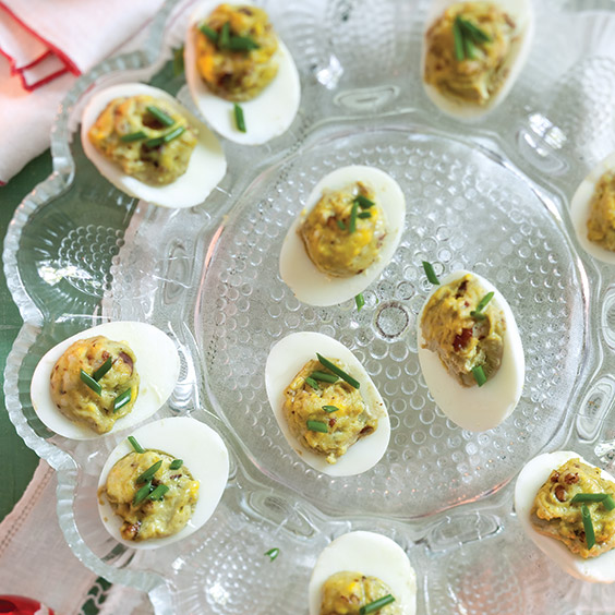 curry pecan deviled eggs