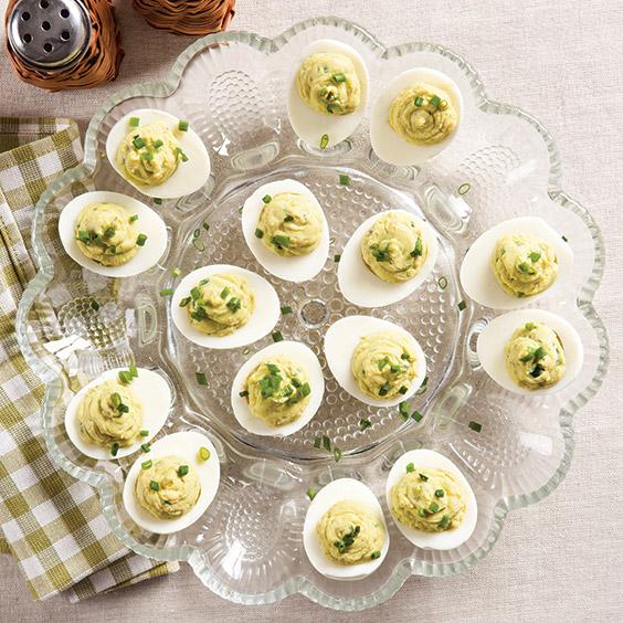spicy avocado deviled eggs