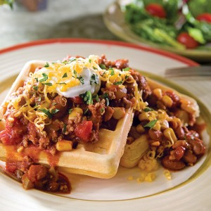 Cornbread Waffles with Spicy Chili Ground Beef