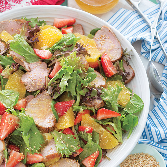 Salad Bar Pork and Strawberry Salad with Ginger-Sesame Dressing