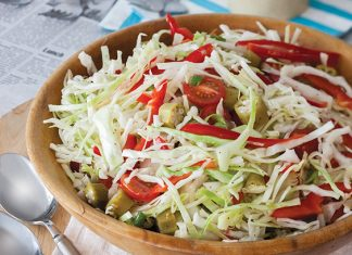 Bell Pepper and Pickled Okra Marinated Slaw