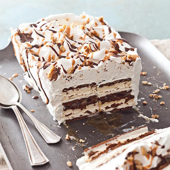 Caramel Turtle Ice Cream Cake Recipe