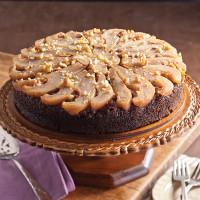 Pear Walnut Upside-Down Cake