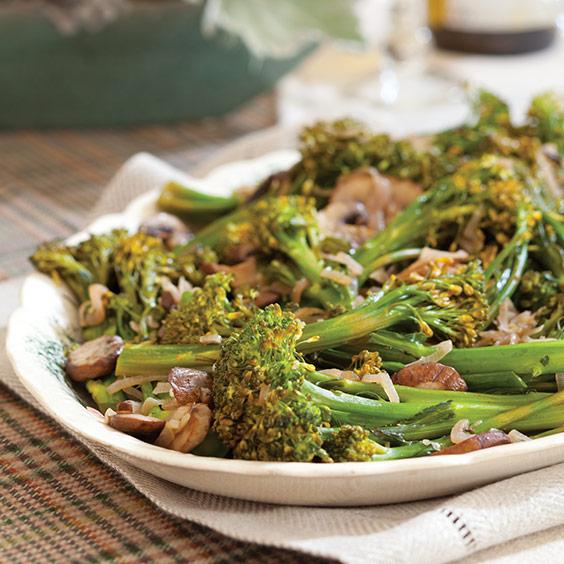 Sautéed Broccolini and Mushrooms