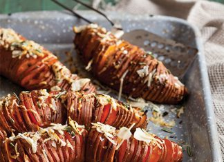 Rosemary–Garlic Hasselback Sweet Potatoes