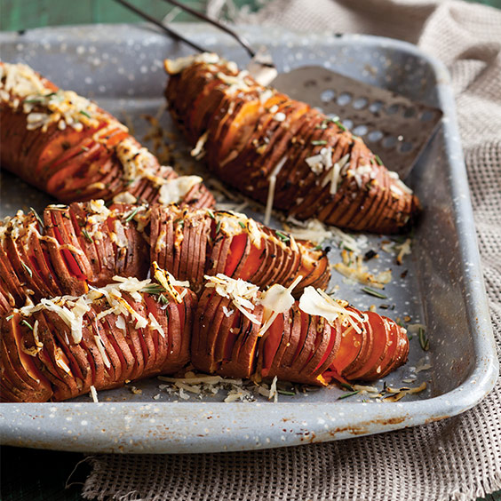 Rosemary–Garlic Hasselback Sweet Potatoes