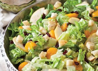 This Romaine Holiday Salad is a tasty combination of dried cranberries, mandarin oranges, pears, homemade crotons, and Romaine lettuce.