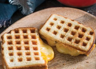 Waffle-Grilled three-Cheese Sandwiches