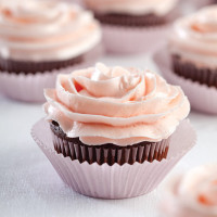 Dark Chocolate Cupcakes with Cherry Buttercream