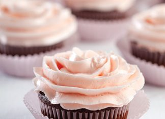Dark Chocolate Cupcakes with Cherry Buttercream