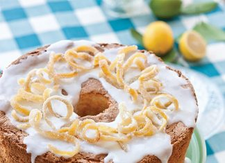 Glazed Lemon Angel Food Cake with Candied Lemon