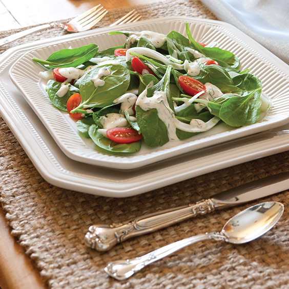 Sunday Supper Spinach and Fennel Salad with Creamy Goat Cheese Dressing
