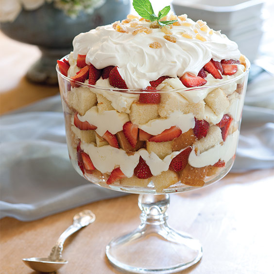 White Chocolate, Strawberry, and Ginger Trifle