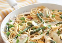 Chicken Fettuccine with Asparagus and Peas