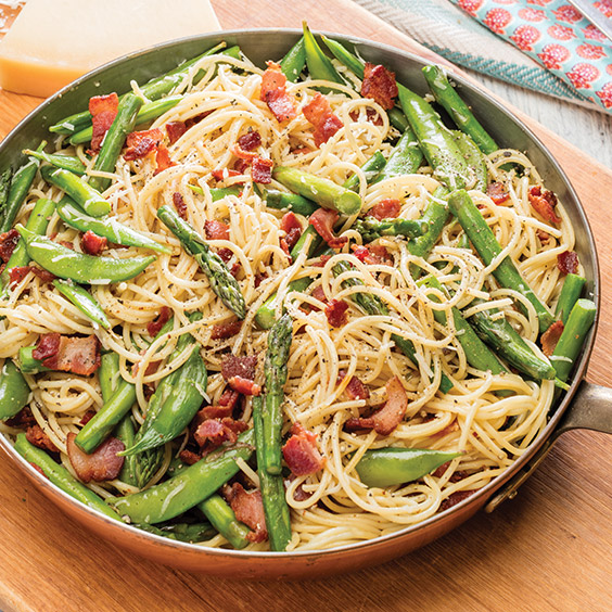 Sugar Snap Pea and Bacon Carbonara
