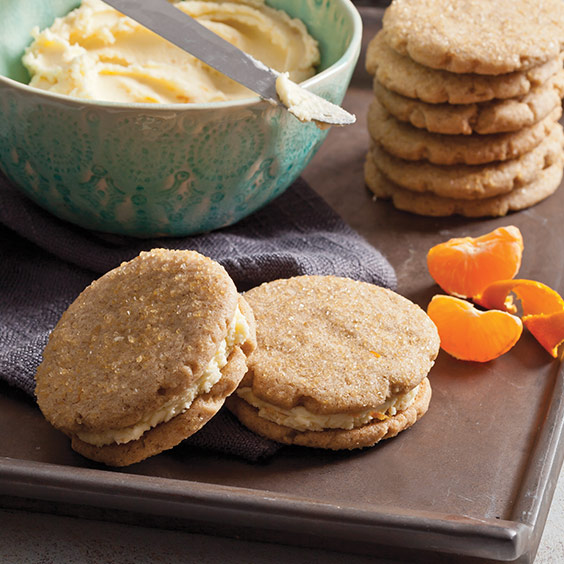 Gingersnaps Sandwich Cookies withClementine Buttercream