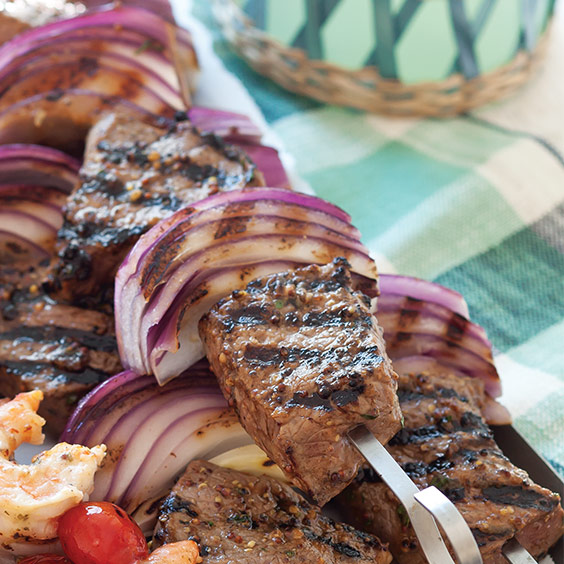 Honey-Mustard Steak and Onion Kabobs
