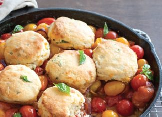 Tomato Cobbler with Cheddar Biscuits