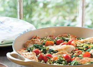 Skillet Chicken, Peas and Greens