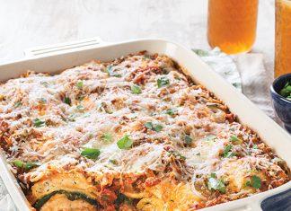 Meaty Spinach Ravioli Bake