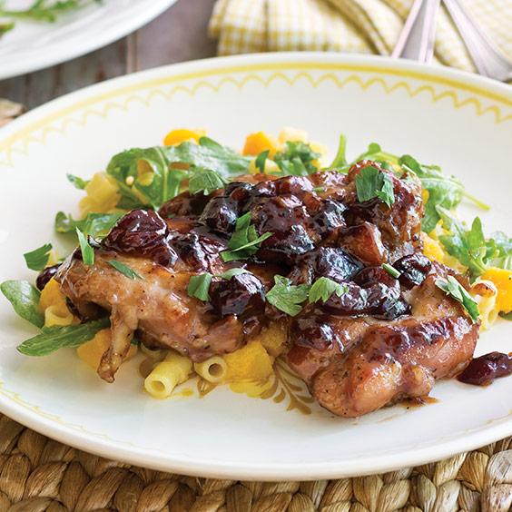 Cranberry Chicken with Butternut Squash Pasta Salad