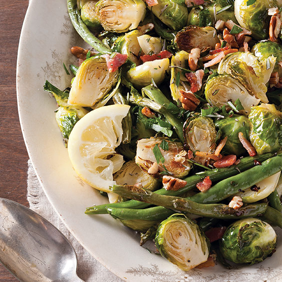Roasted Brussels Sprouts and Green Beans