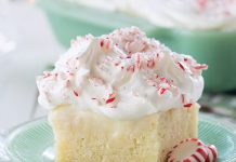White Chocolate Peppermint Poke Cake