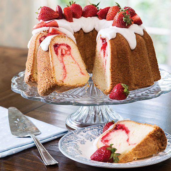 Strawberry Swirl Pound Cake Paula Deen Magazine