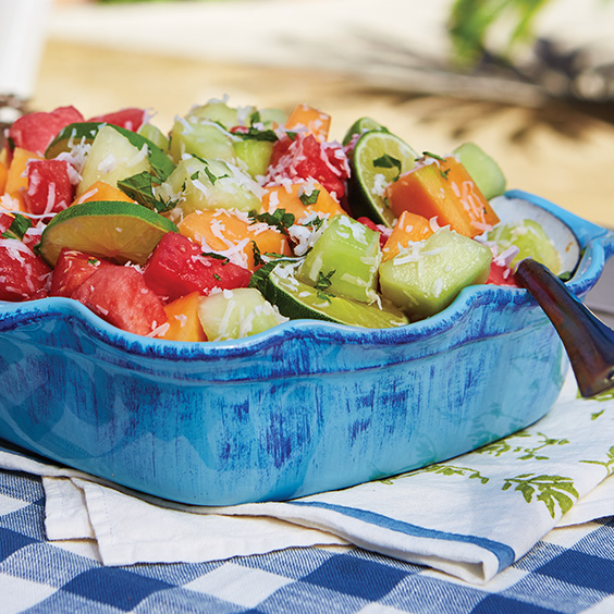 Melon Salad with Honey Lime Dressing