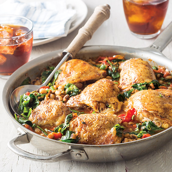 Chicken Thighs with Black-Eyed Peas and Tomatoes