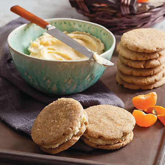 Gingersnap Sandwich Cookies with Clementine Buttercream