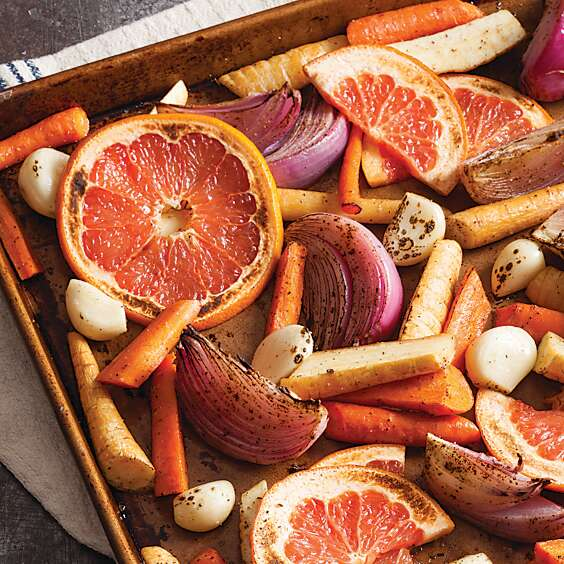 Roasted Root Vegetables and Grapefruit