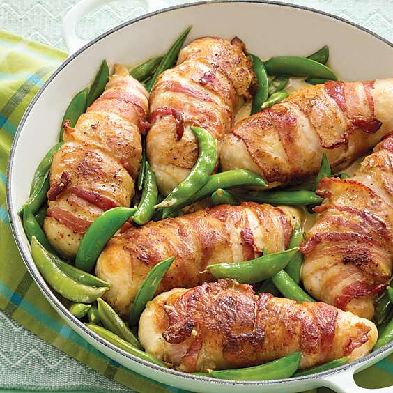 Bacon-Wrapped Chicken with Sugar Snap Peas