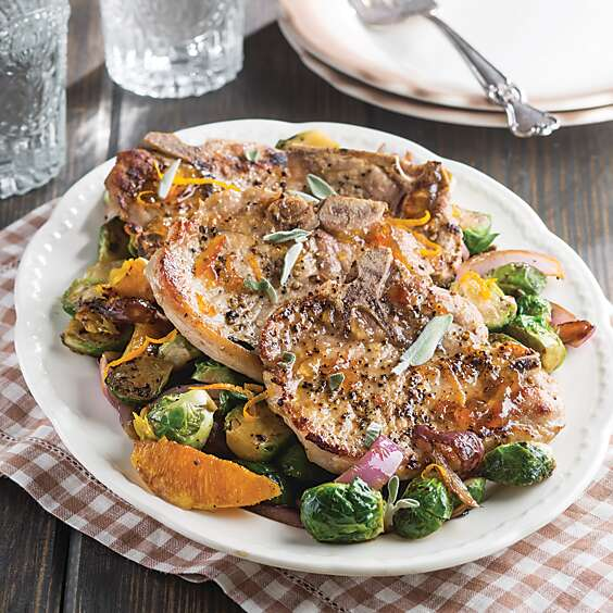 Orange-Sage Pork Chops and Brussels sprouts