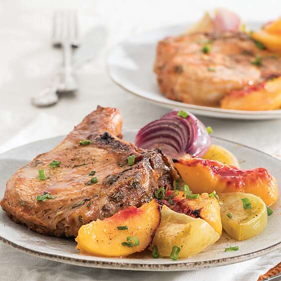 Barbecue Pork Chops with Tomatoes and Peaches