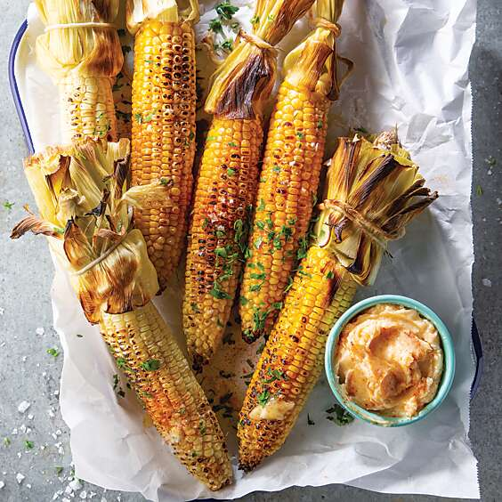 Roasted Corn on the Cob with Spicy Honey Butter